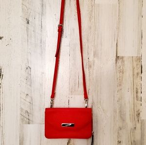 Nine West Red Leather Crossbody Cellphone  Purse